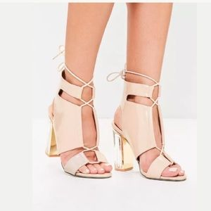 Missguided Perspex nude lace up block heels 9